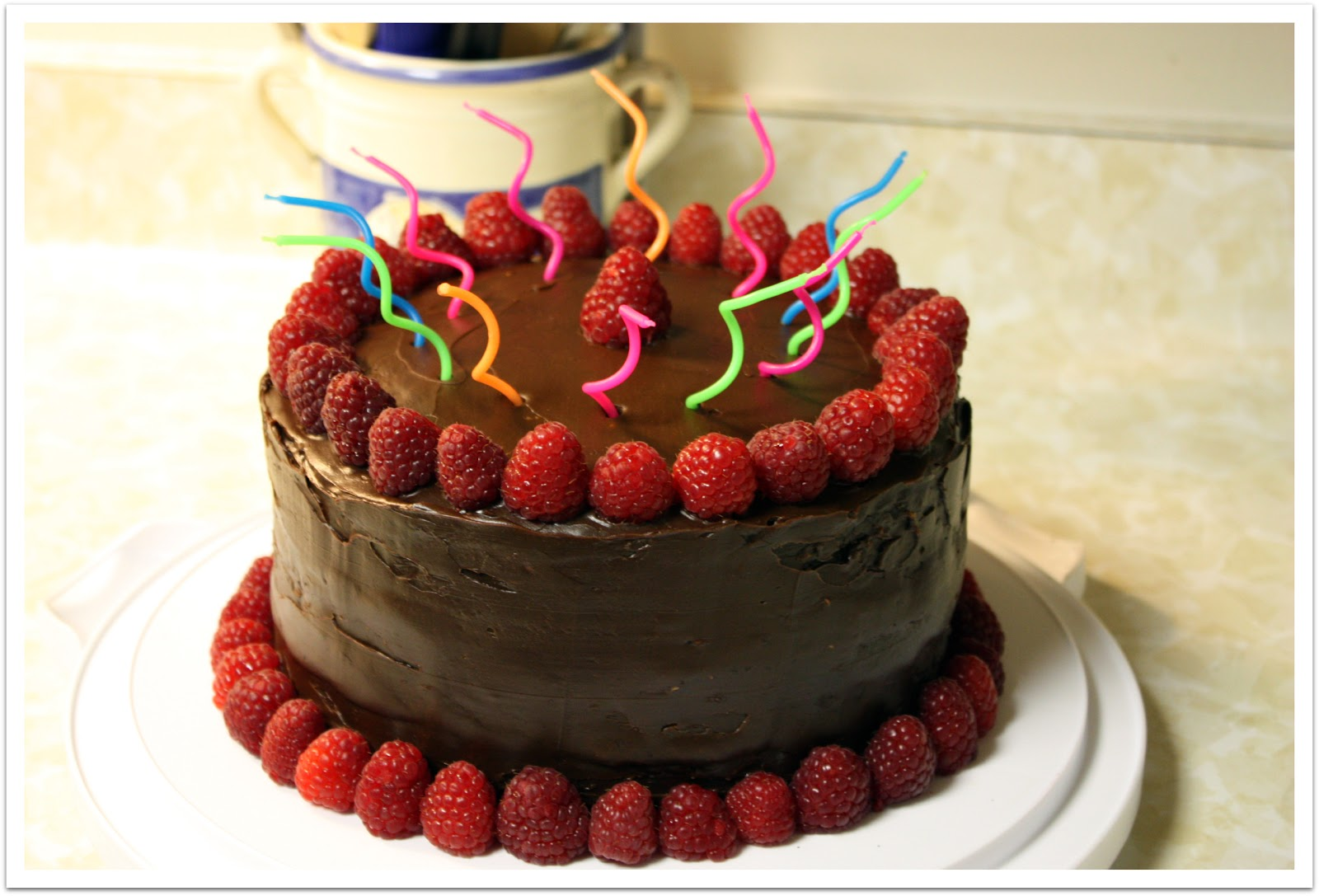Chocolate Cake with Raspberry Filling & Chocolate Ganache Frosting