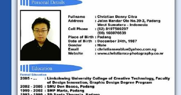 contoh cv resume daftar riwayat hidup job application sample english