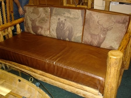 Log Furniture For Sale Log Couch With Leather Cushions 1550