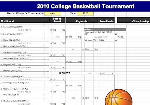 Template highlight: 2010 College Basketball Tournament Bracket