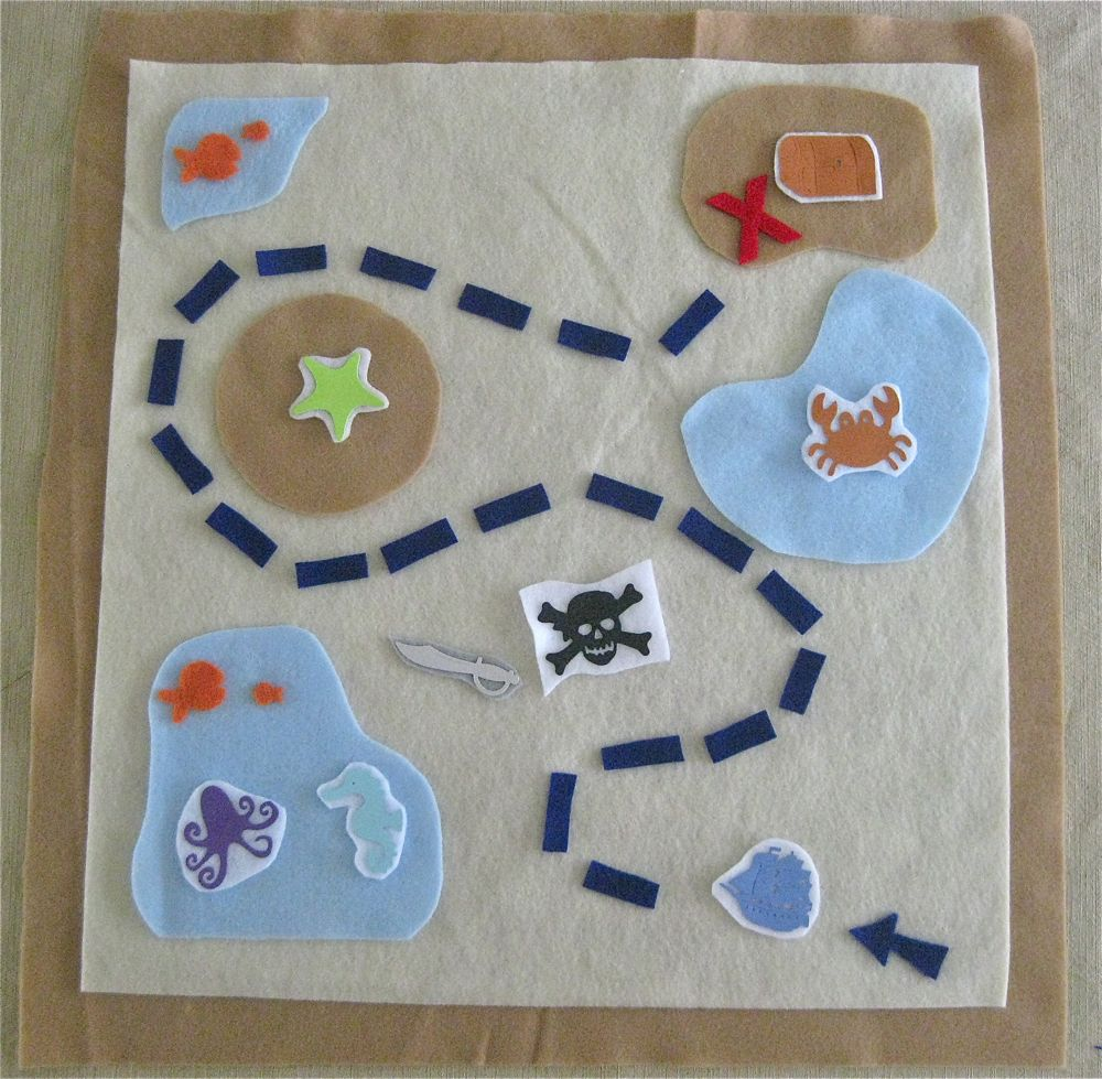 Sew can do craftshare week 8 felt is fun treasure map for Craft party long island