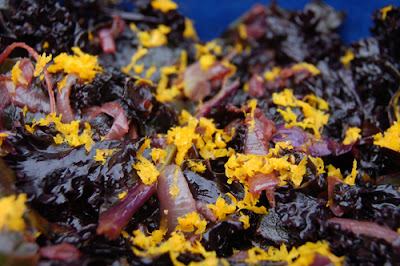 Close up of wilted kale salad with balsamic vinegar and orange zest