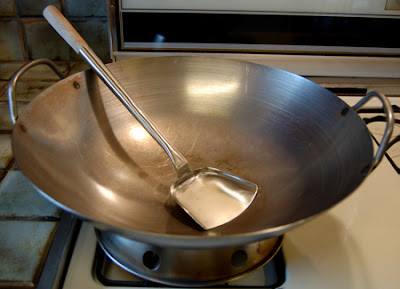 Photo of my stainless steel round bottomed wok from The Wok Shop in San Francisco.