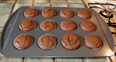 Dark chocolate cupcakes, fresh out of the oven