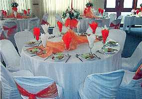 This is a Round Table setting usually able to accommodate ten guests. & VIP CATERERS