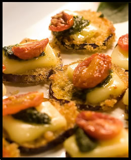 crispy eggplant with mozzarella, roasted tomato and pesto hors d'oeuvres