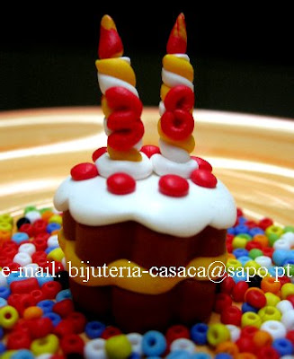 Bolo de Aniversário em Fimo