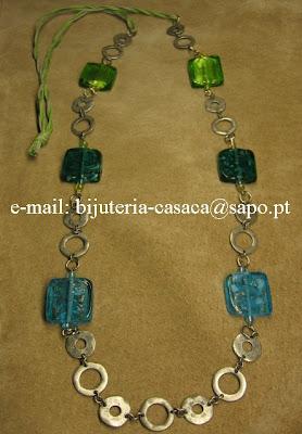 Colar: Quadrados de vidro três tons
