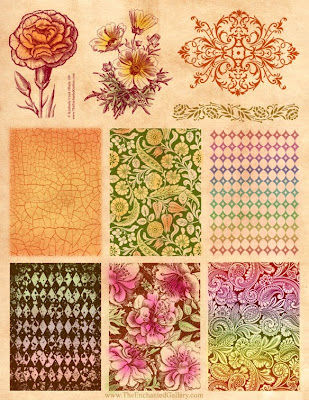 EPS Vector of Vector Distressed Patterns - Detailed vector