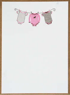 smudge ink baby girl pink onesie invitations available at mac & murphy - a charleston paper company