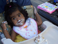 Pryanka enjoying her 1st B-Day cake
