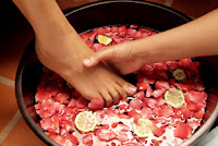 At home foot pampering