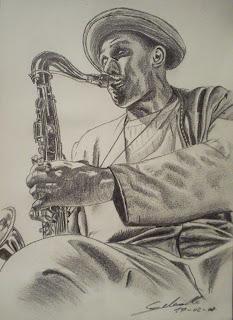 portrait de Dexter Gordon, réalisé à la mine de plomb, mine graphite