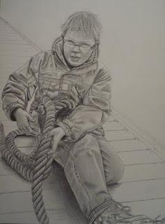 Elouan,portrait d'enfant, mine de plomb