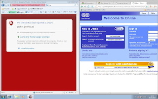 Screenshot of IE8 SmartFilter blocking a phishing site alongside Comodo Dragon