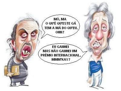 Manuel Cajuda e Jorge Jesus - caricaturas de Ricardo Galvão para A Bola