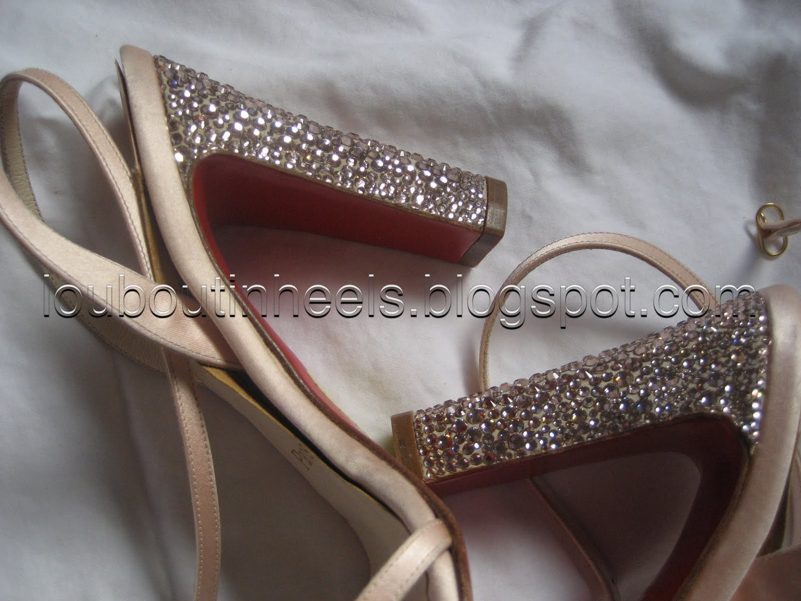 louboutin studded mens shoes - louboutin heels: Christian Louboutin Strass Beige Satin Sandals Heels