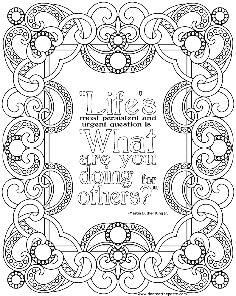 Colouring Pages For Adults With Quotes : Don t eat the paste martin luther king jr printable quote