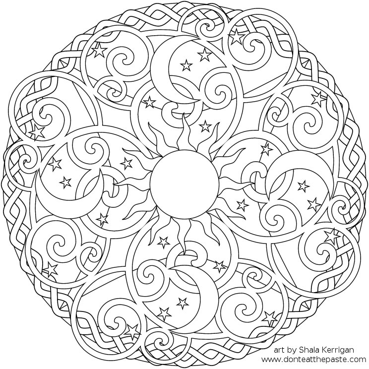 Skull Mandala Coloring Pages http://www.donteatthepaste.com/2011/01/celestial-mandala-box-card-and-coloring.html