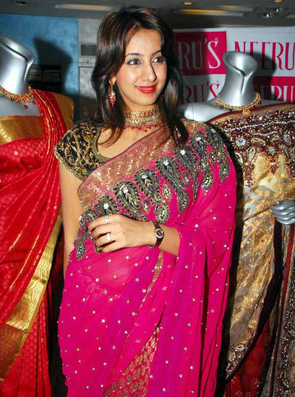 Kannada Actress Sanjana in Pink Colour Designer Saree Photo