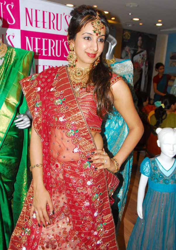 Actress Sanjana in Designer Bridal Wear (Ghagra Choli)