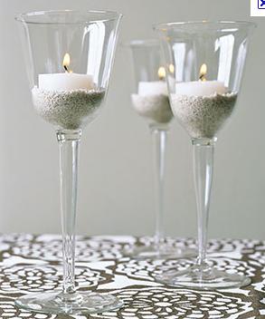 Crazy about weddings wedding diy candle holders - Como decorar copas de cristal ...