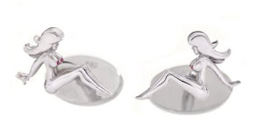 Mud Flap Jill Cuff Links w/Ruby Nips!