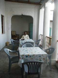 Open dining area at Nyuma Gereza Hotel, Lamu Island, Kenya