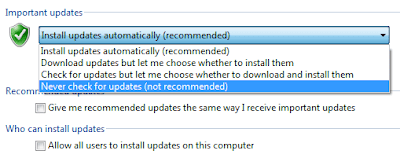 disable automatic updates windows 7
