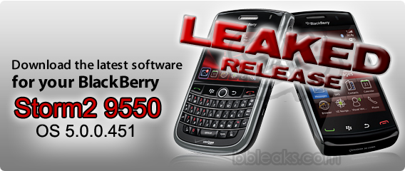 BlackBerry Storm2 9550 OS 5.0.0.451 Leaked Online!