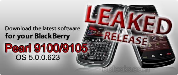 BlackBerry Pearl 9100 / 9105 OS 5.0.0.623 Leaked