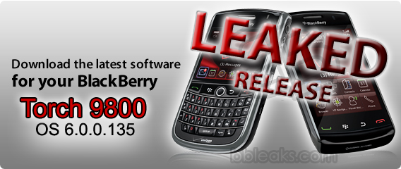 Leaked: BlackBerry Torch 9800 Slider OS 6.0.0.135!