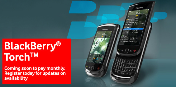 BlackBerry Torch 9800 Appears on Vodafone UK Website!