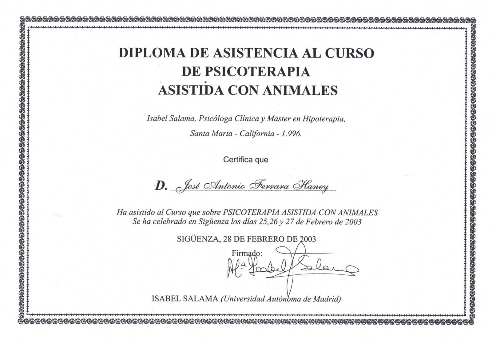 Certificado De Asistencia a Psicoterapia