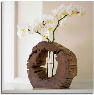 decoración con troncos