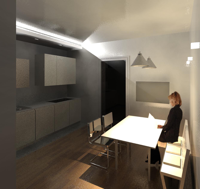 geometra: progetto di interno - cucina e elemento in cartongesso ... - Veletta Cartongesso Soggiorno
