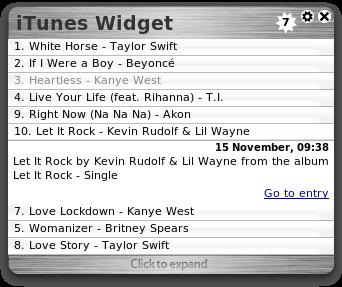 iTunes Widget Opera