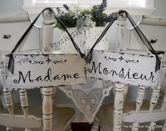 Madame Monsieur Chair Signs by The Back Porch Shoppe