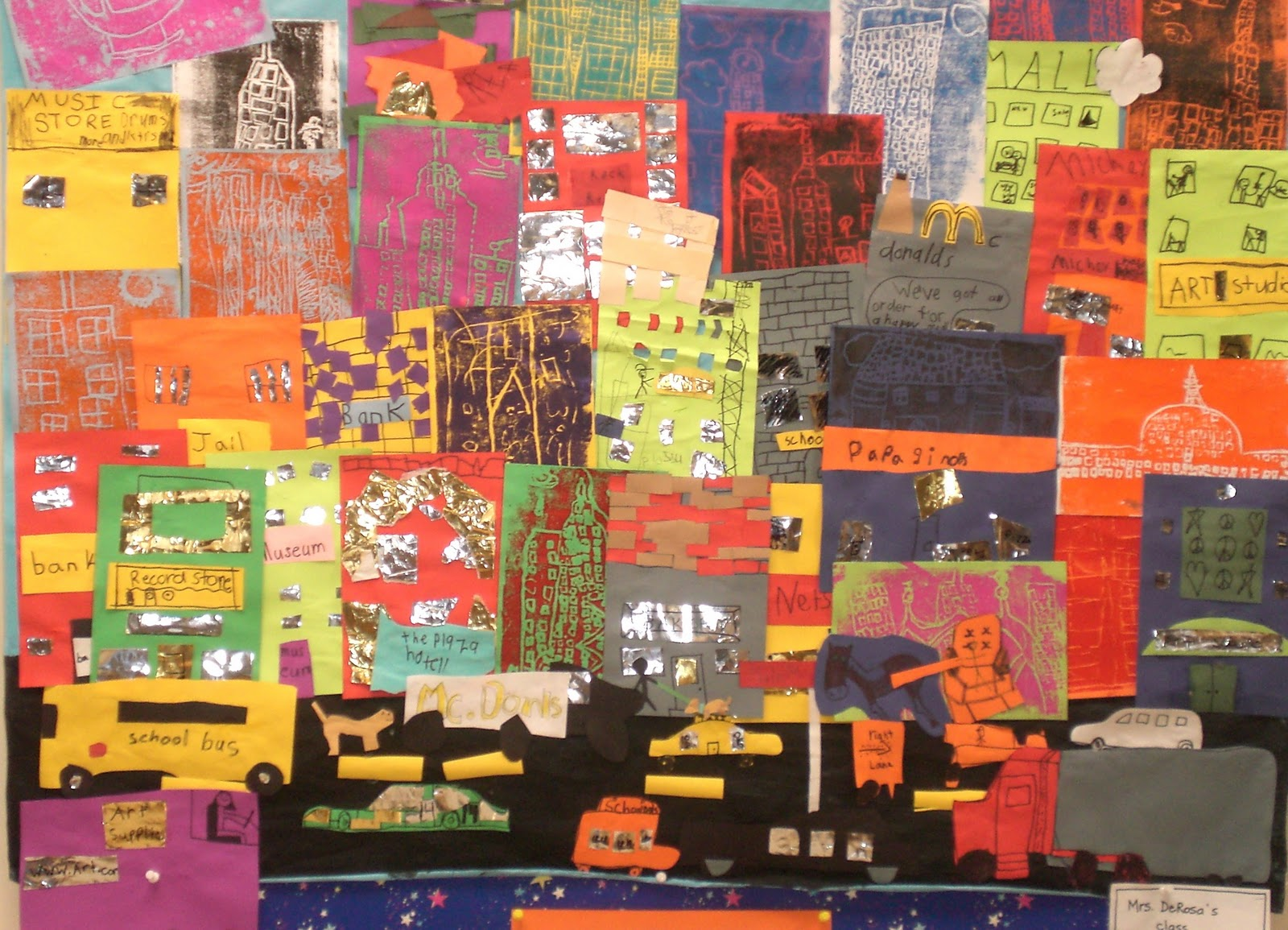 art with mrs hurley cityscape collage mural 2nd grade