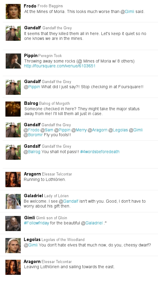 Lord of the Rings in Twitter form 4