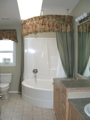 nice corner tub shower plus the optional skylight