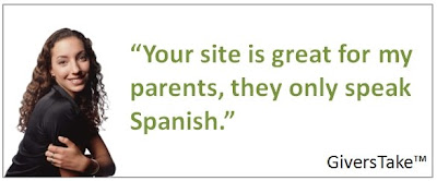 Givers Take Image, Your site is great for my parents, they only speak Spanish