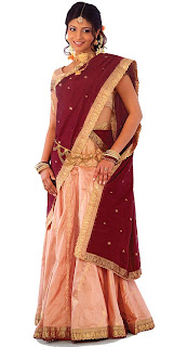 Peach And Maroon Color Silk Pavada Davani  Half Saree  With Beautiful