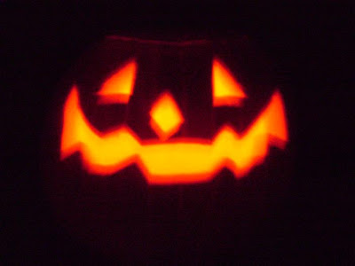 close up of my Jack O Lantern in the dark
