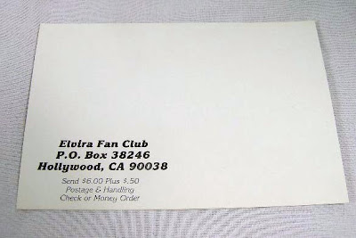 back of Elvira Official Fan Club postcard