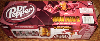 side of Dr Pepper Iron Man 2 box