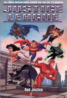 Front cover of Red Justice book based on Justice League cartoon