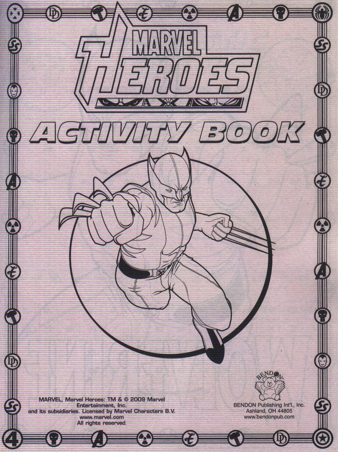 first page of Marvel Heroes Jumbo Coloring & Activity Book