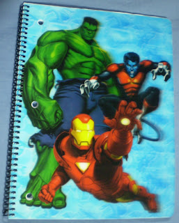 Front cover of Marvel Heroes notebook