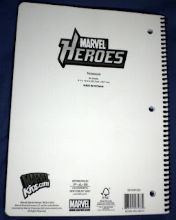 Back cover of Marvel Heroes notebook